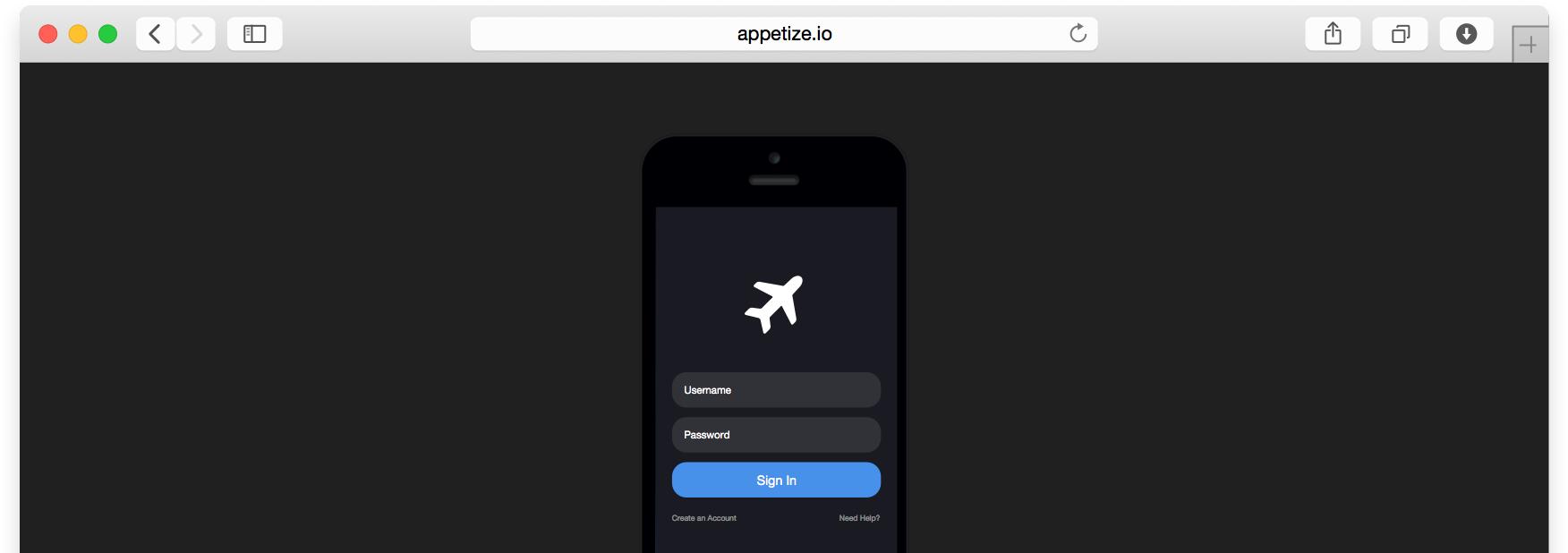 test app in browser